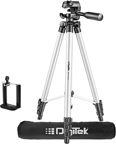 DIGITEK DTR 455 LT 132 CM Tripod Mobile Holder and Carry Bag For DV Cameras and Smartphone Max Operating Height 4 26 Feet Load Capacity 3 Kg Lightweight Sturdy Tripod with Adjustable 3 Way Pan Head DTR 455 LT