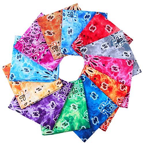 URATOT 6 Colors Cotton Tie Dye Bandanas Classic Paisley Bandanas Cowboy Handkerchiefs for Men and Women