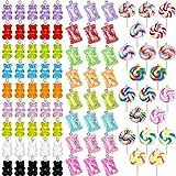 89 Piezas Colgante de Dulce Caramelo Encantos Coloridos de Forma de Caramelo Encantos de Gomosos Colgantes de Oso Encanto de Forma de Piruleta de Arcilla Polimérica para Aretes Collar Pulsera