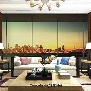 Mural Wall Art Photo Decor Wall Mural for Living Room or Bedroom,Empty Office at Sunset with View to Skyline Architecture Downtown City,Home Decor - 66x96 inches