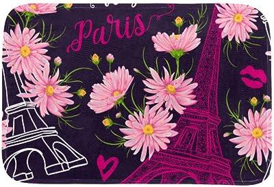 EGGDIOQ Doormats Eiffel Tower and Pink Chamomile Flowers Custom Print Bathroom Mat Waterproof Fabric Kitchen Entrance Rug, 23.6 x 15.7in