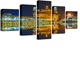 ZHFFYY Canvas Painting 5 Pieces Wall Art Canvas Poster Living Room Home Decor 5 Pieces Golden Temple Beautiful Night View Paintings HD Prints Pictures Framework