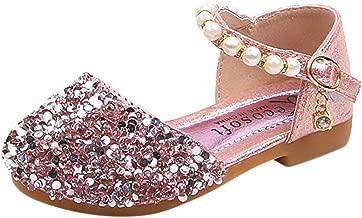Hemlock Toddler Girl Flat Sandals Light Shoes Kids Baby Sequins Soft Sandals (3 Years Old, Pink-2)