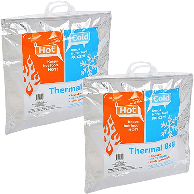 Insulated Resealable Jumbo Bag 19 X 19 Reusable Family Size Thermal Picnic Pouch Family 2 Count