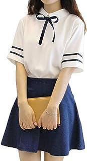 GuDeKe 夏 半袖 レディース Tシャツ 海軍風 トップス+スカート 2点セット 学生服 aライン ミニ セーラー風 制服 清新 学院風 おしゃれ かわいい