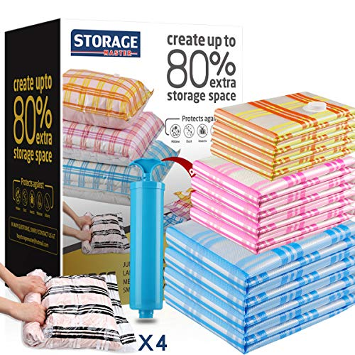 Storage Master Platzsparende Beutel für Reisen und Zuhause, Wiederverwendbare Vakuum-Aufbewahrungsbeutel, Sparen Sie 80 % mehr Stauraum, verwenden Sie Staubsauger + Reise-Handpumpe
