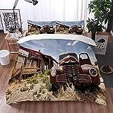Bedding Juego de Funda de Edredón -Restaurante Abandonado Americano en la Ruta 66 con la señal de Come on in Desert Road Rusty /Microfibra Funda de Nórdico (Cama 220 x 240 cm + Almohada 50X80 cm)