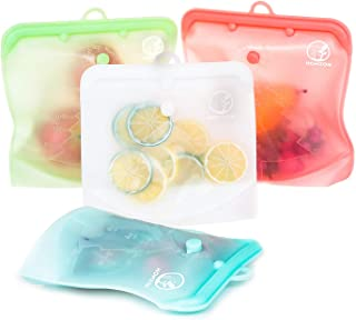 Reusable Silicone Food Bag, Homzon Versatile Silicone bags for Vegetable, Liquid, Snack, Meat, Sandwich, BPA Free and Leak Proof (2 Large+2 Medium)