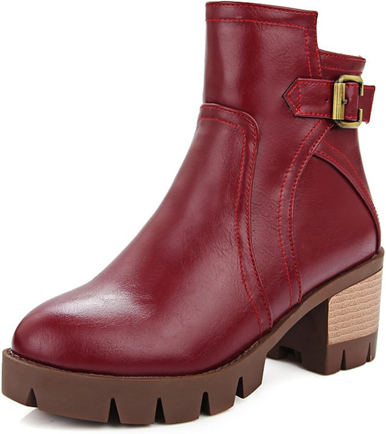 AdeeSu Womens Pull-On Buckle Round Toe Imitated Leather Boots
