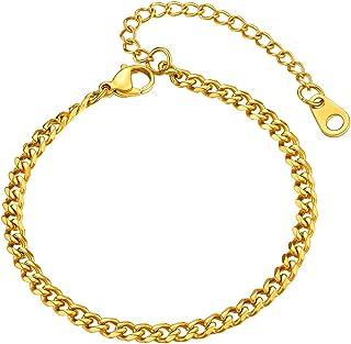 U7 Men Women Cuban Link Bracelet Stainlss Steel 18K Gold Plated 3mm 6mm 9mm 12mm Wide Miami Curb Chain Wrist Bracelet, Len...