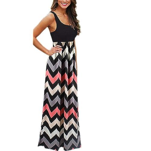 Women Long Maxi Dress Chevron Print Casual Beach Halter Strappy Maxi Dress Color Block Striped Long Dress