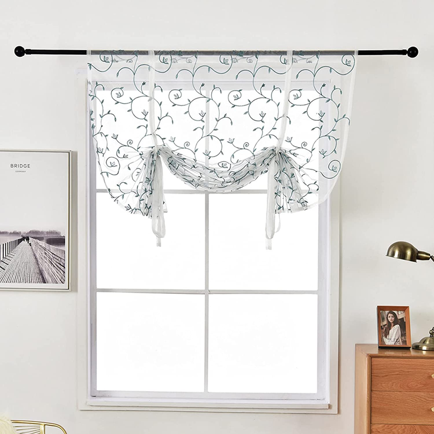 Kitchen Tie Up Curtains White Curtain Cheap super special price OFFer Shade Valance Balloon Lace