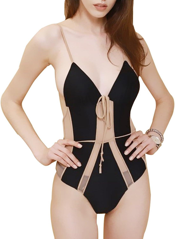YONGMEI Women's Black Sexy Siamese Bikini Swimsuit Net Yarn Splice Cover Belly Thin Swimsuit Outdoor Sports