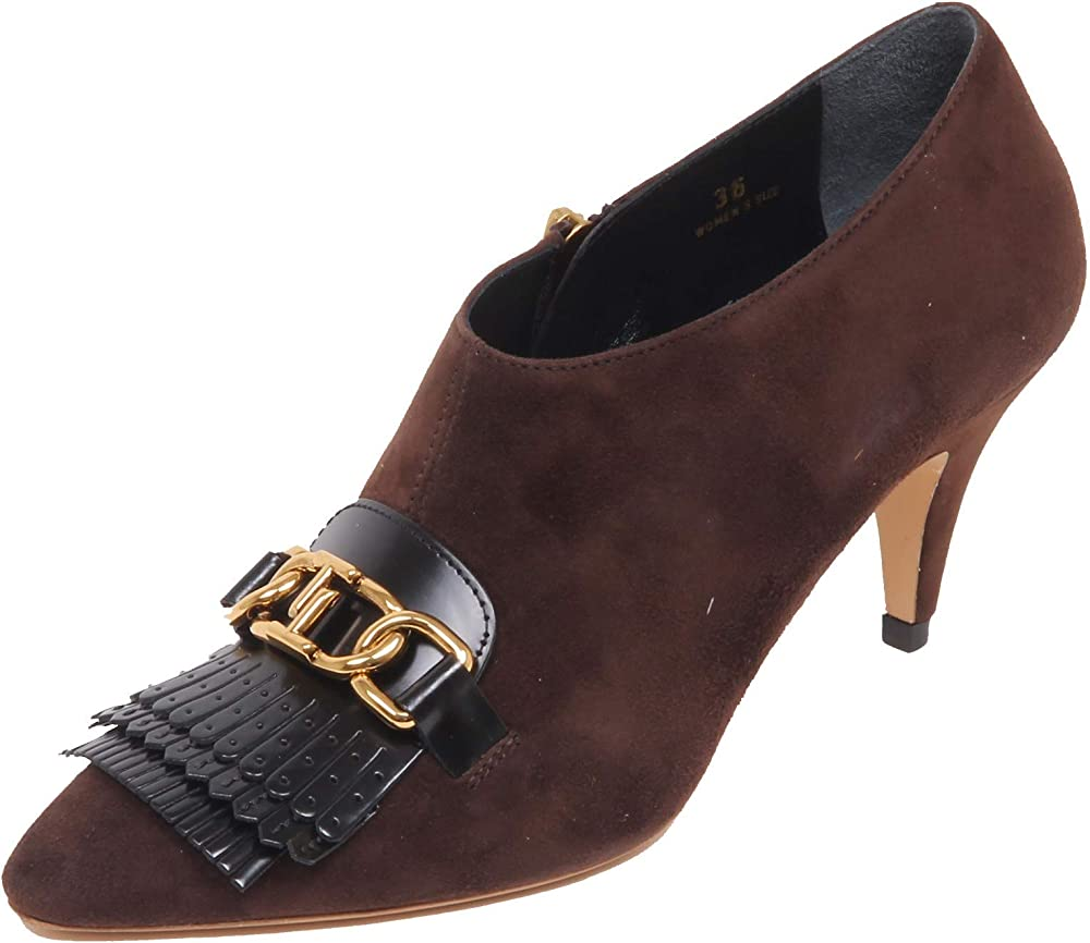 Tod's,decollete` donna brown/black,scarpe con il tacco in pelle scamosciata XXW15B0Z700HVA0ZIH
