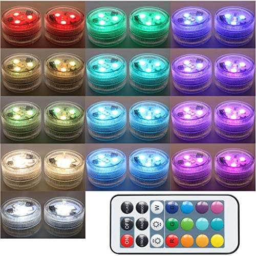 20PCS Submersible LED Lights Popular Waterproof Small Battery Operated Single Mini Led for Crystal Vases Centerpiece Decoration … (Two Pack Two Remote)