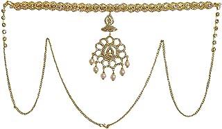 DollsofIndia White Stone Studded Kamarband - Waistband - 16 x 4 inches Chain - 28 inches (SG05)