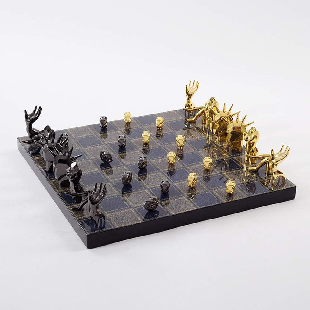 Schaakspel Chess Metal Schaakstukken massief houten schaakbord High Grade Professional Chess Games Set Living Room Craft Gift Ornamenten Schaakbord (Color : Black) Black
