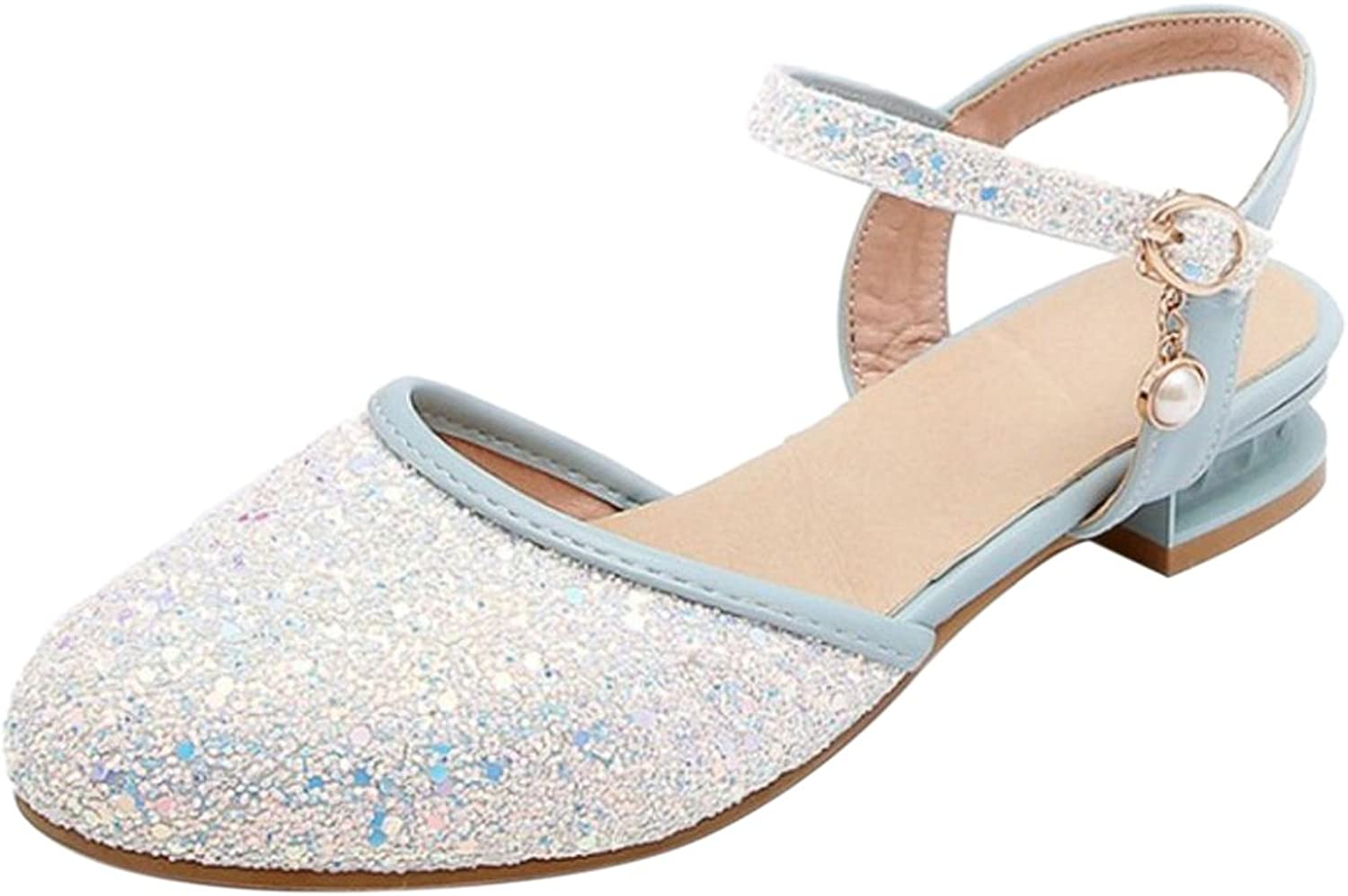 KemeKiss Women Buckle Strap Sandals shoes Flats Glitter