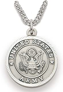 TrueFaithJewelry Sterling Silver United States Army Medal with Saint Michael Back, 3/4 Inch