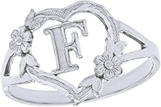 CaliRoseJewelry Silver Initial Alphabet Personalized Heart Ring - Letter F