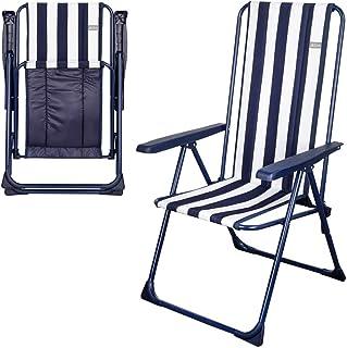 AKTIVE 62615 Silla Playa Plegable 5 Posiciones, Azul/Blanca, 60 x 59 x 103 cm