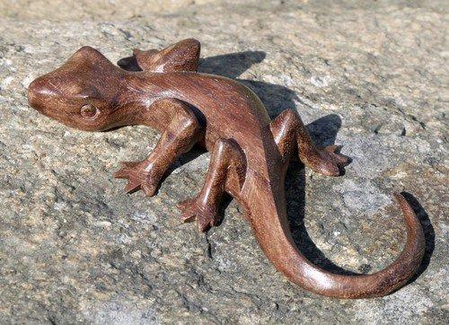 kleiner Gecko Holz Tier Echse Figur Kinder Spielzeug KTier 59.13