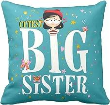 YaYa cafe Canvas Fabric Cutest Big Sister Printed Cushion Cover (12 x 12 inches, Green)