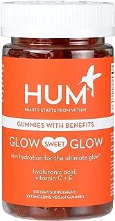 HUM Glow Sweet Glow - Vegan Skin Hydration Gummy Hearts with Hyaluronic Acid (60 Tangerine Flavored Gummies)
