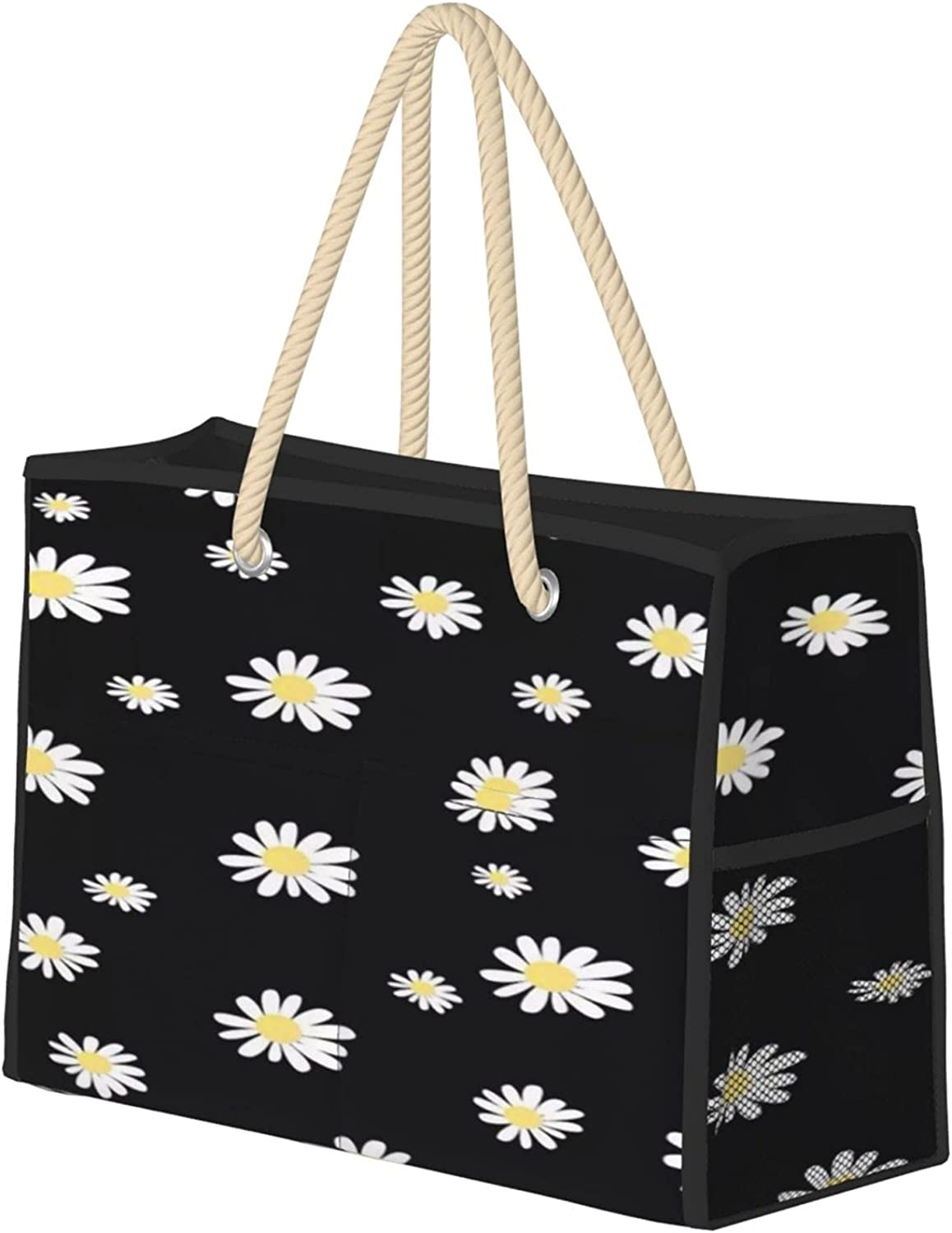 White Daisy Houston Mall Women Beach Tote Bag With Large Zipper Save money Handle Travel