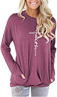 Women's Casual Faith Printed Round Neck Sweatshirt T-Shirts Tops Blouse with Pocket