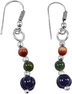 Handmade Jewelry Manufacturer 925 Silver Plated//Tiger Eye /& Brown Sunstone//Dangle Earring//Beaded Earring//Simple Earring Jaipur Rajasthan India