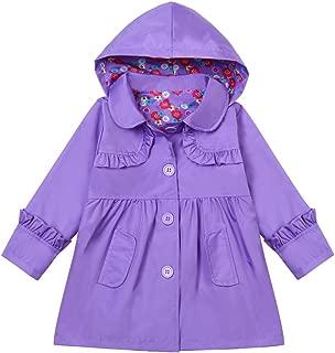 Little Girls Waterproof Raincoat Floral Outwear Hooded Jacket Coat