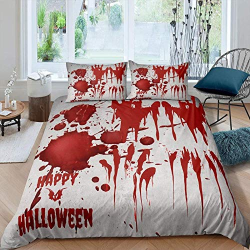 HKDGHTHJ® 3D-bedruckter Bettbezug 4-teiliges Set Gruselige rote Blutflecken an Halloween 220x230 cm Bettbezug Set Twin Full Queen King Size Bettwäsche Set Soft Trösterbezug Bettlaken Set Bettwäsche