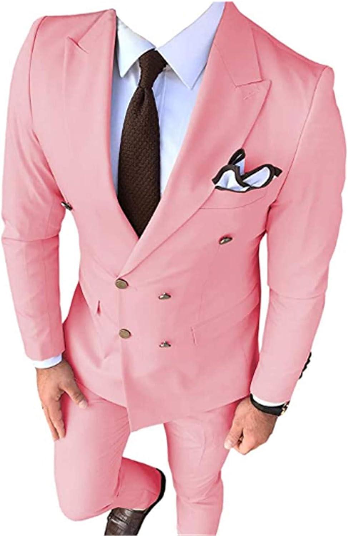 2 PCs Men Suits(Jacket+Pants) Slim Fit Blazer Wedding Grooms Tuxedo
