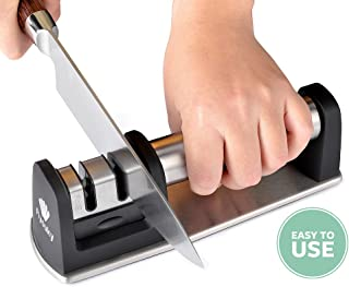 Kitchen Knife Sharpener Professional 2 Stage Steel Diamond Ceramic Coated Sharpening Tool Cook Chef Knife Sharpening Kit Easy to Use Extremely Quickly Fast