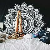 Tapiz caxmtu de pared. Tapices de mandalas tradicionales, de algodón; diseño de impresión bohemio-hippie, arte de pared, grande, en negro y blanco