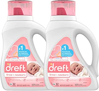 Dreft Stage 1: Newborn Hypoallergenic Liquid Baby Laundry Detergent (HE), Natural for..