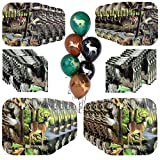 Havercamp Next Camo Party Bundle | Dinner & Dessert Plates, Beverage Napkins, Balloons | Great for Hunter Themed Party, Camouflage Motif, Outdoor Events