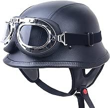 QYWSJ Retro Open Face Half Helmet, Cruiser Vintage Harley German, Cascos Planos, Homologados por El Dot para Hombres y Mujeres, Jet Helmet, Gafas de Cuero de PU (S-XXL)