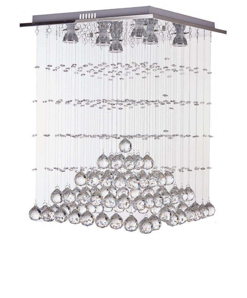 Diamond Life 现代雨滴 LED 枝形吊灯带水晶球天花板照明灯具 宽 16 x长 16 x高 25,含灯泡