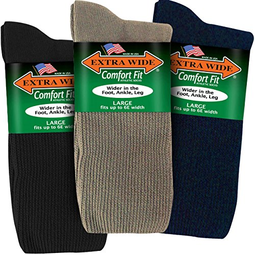 Extra Wide Athletic Crew Socks for Men (3 Pack) (11-16 (up to 6E wide), Variety (black navy tan))