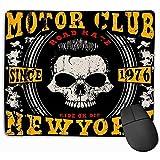 Tapis de souris pour motocyclette de course Typographie Poster Tête de mort Vieux Moto Racing Typographie Poster Tête de mort Vieux Tapis de souris 25 x 30 cm