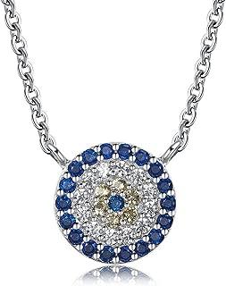 Mauvais Oeil Zircon Cubique Charme Cristal Pendentif turque NAZAR Grec Argent Sterling Collier