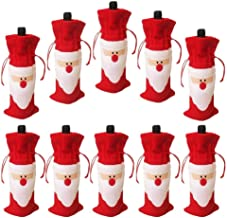 Pack of 10 Christmas Wine Gift Bags - Santa Claus Drawstring Christmas Red Wine Bottle Cover Bags Dinner Party Table Decor