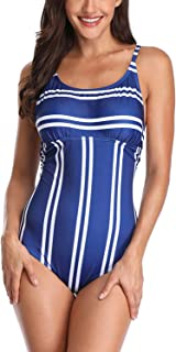 Womens Color Block One Piece Swimsuit Retro Striped One Piece Bathing Suits