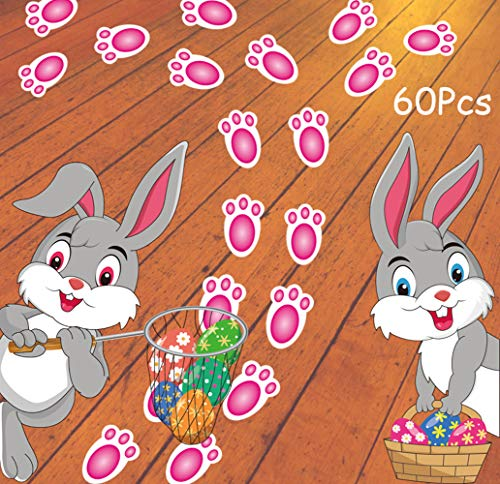 VEYLIN 60Pcs Pink Bunny Footprints Stickers, Rabbit Paw Print Decoration Set with Cute Bunny, Eggs Sticker for Easter Party