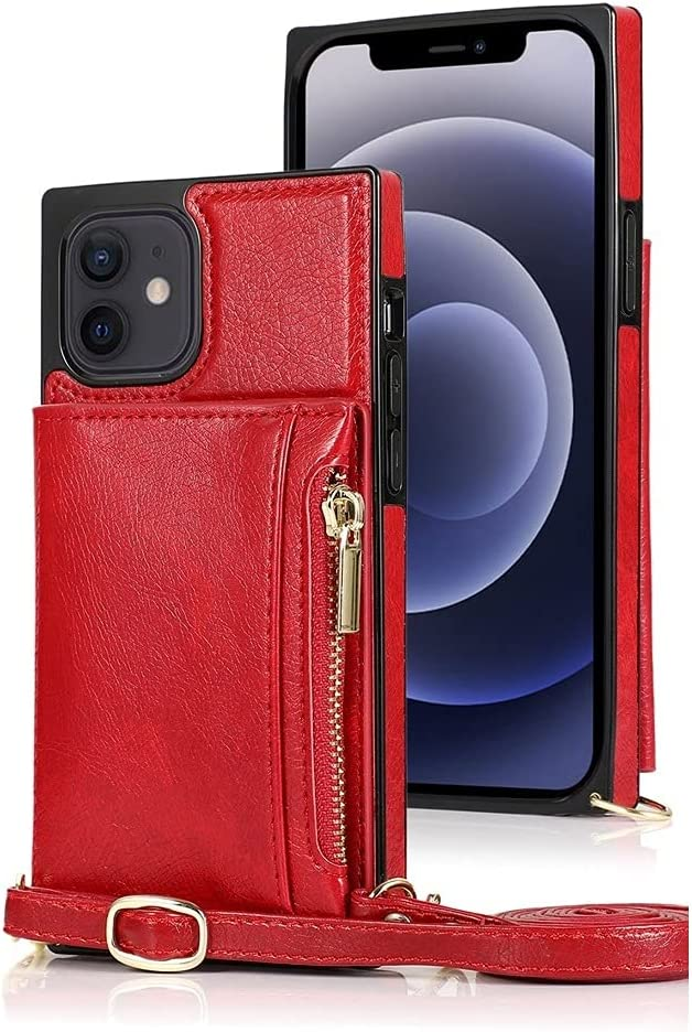 SLDiann Case for iPhone 12 Mini, Zipper Wallet Case with Credit Card Holder/Removable Crossbody Long Lanyard, Shockproof Leather TPU Case Cover for iPhone 12 Mini 5.4-inch 2020 Release (Color : Red)