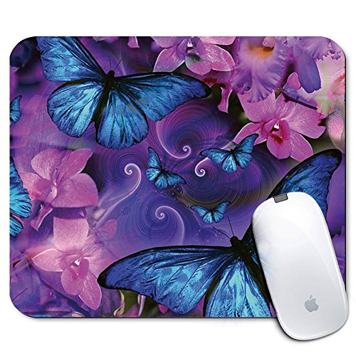 Personalized Rectangle Mouse Pad, Printed Butterfly Pattern, Non-Slip Rubber Comfortable Customized Computer Mouse Pad (9.45x7.87inch)