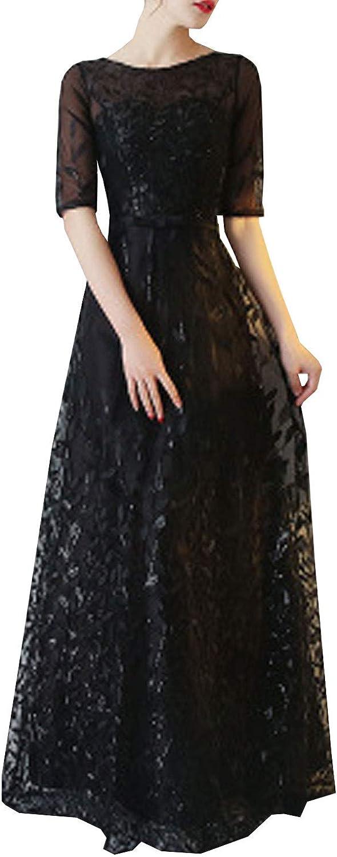 Unomatch Women Round Neck Long Elegant Party Lace Dress