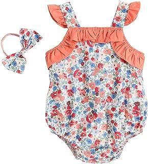 فتاة القطن طفلة أكمام ارتداءها ملابس الصيف الوليد أزياء مع عقال (Color : BRS1012 WH, Kid Size : 12-18M)